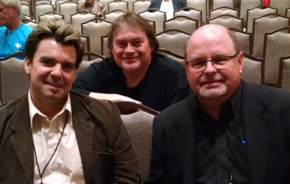 Best-selling authors M. William Phelps, left, and John Gilstrap, right, and someday best-selling author G. Robert Frazier, center, seen at the 2015 Killer Nashville writers's conference.